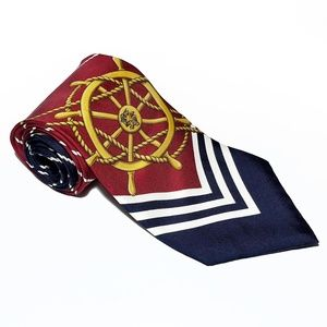 VTG Tommy Hilfiger Nautical Ships Wheel Silk Tie